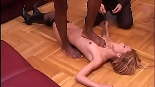 White cuckold looks his asian wife banged by a black