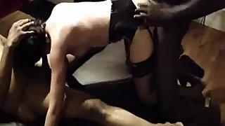 Blindfolded wife and two black stallions