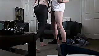 British Slut GF &amp_ Random Beard Guy (Bareback &amp_ Creampie Finish)