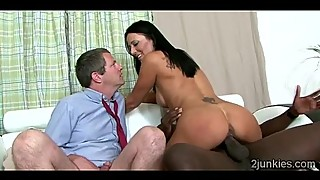 Big stacked MILF rides black thug in front of her perv husband