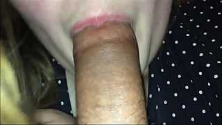 Hot wife 1st time sucking her 2nd dick in her life besides her husband, going crazy sloppy blowjob letting him finish in her mouth and then swallow whole load of cum