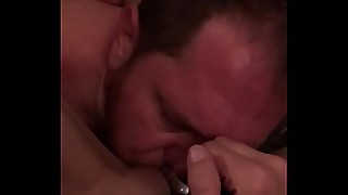 Watching my wife rub her pussy while I jack off ends with forced creampie cleanup and sucking the cum out of her fresh fucked pussy.