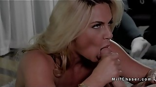 Fat cuckold watches wife fucking