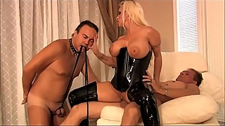 Busty dominant milf wife in latex loves cuckold sex with her husband