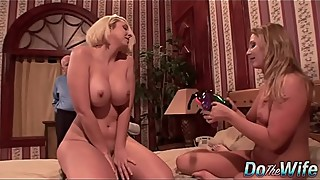 Husband watches his wife get fucked by a girl