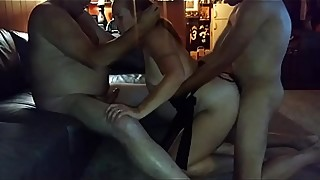 Wife fucks two guys because hubby sucks