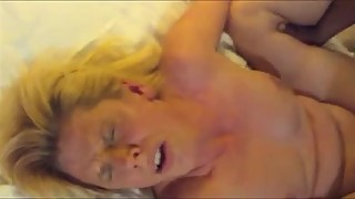 Amateur blonde wife fucked by a BBC and both orgasming while hubby filming.