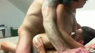 Tattooed hot wife gets double dicking