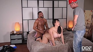 Going Deep - Busty Horny Housewife Fucked By Two Studs