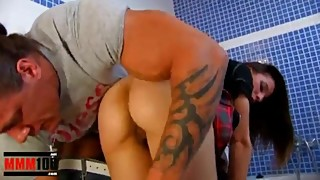Horny housewife gets fucked in the ass by hot muscled plumber